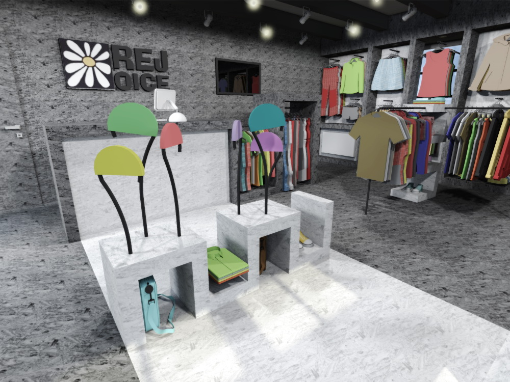 navrh design studie interieru prodejny obchodu s odevy oblecenim rejoice navrhy praha brno ostrava jihlava architekt designer interier prodejni plocha plochy