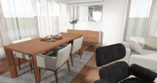 Návrh obývacího pokoje s jídelnou v rodinném domě, Unhošť