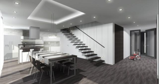 Návrh obývacího pokoje, jídelny a kuchyně v RD, Beroun