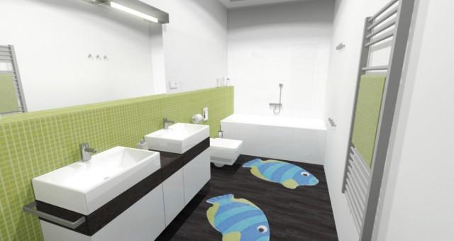 Návrh dětské koupelny v RD, Beroun