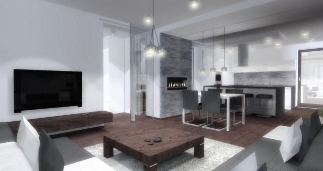 Návrh interiéru obývacího pokoje s kuchyní a jídelnou, Brno