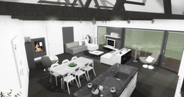 Návrh vstupní a obývací části rodinného domu, Lovčice