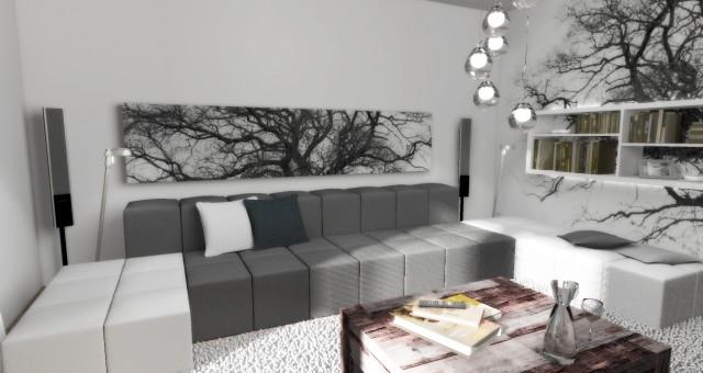 Návrh obývacího pokoje, kuchyně s jídelnou a chodby, Žatec