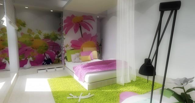 Návrh interiéru dětského pokoje pro holčičku, Jihlava