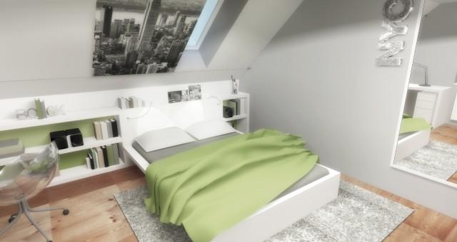 Návrh interiéru studentského pokoje pro slečnu, Brno