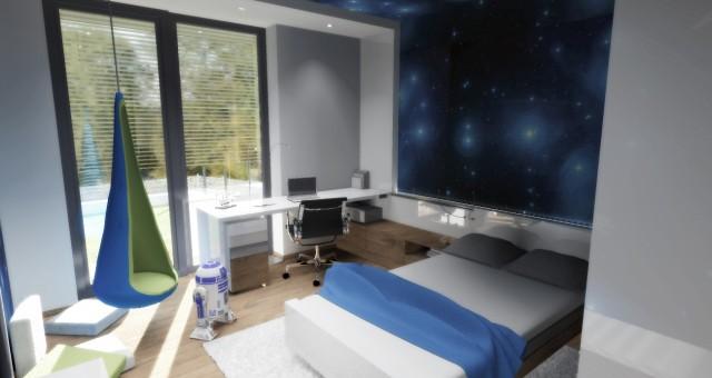Návrh interiéru studentského pokoje pro chlapce, Jihlava