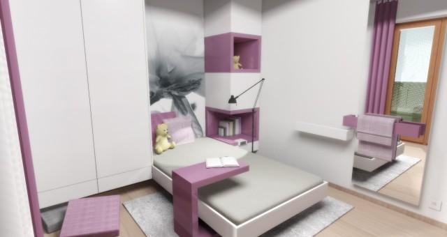 Návrh interiéru studentského pokoje pro dívku, Ostrava