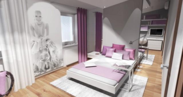 Návrh interiéru studentského dívčího pokoje, Jihlava
