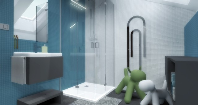 Návrh interiéru koupelny pro dva kluky, Praha