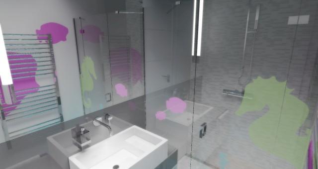 Návrh interiéru koupelny pro děti, Brno