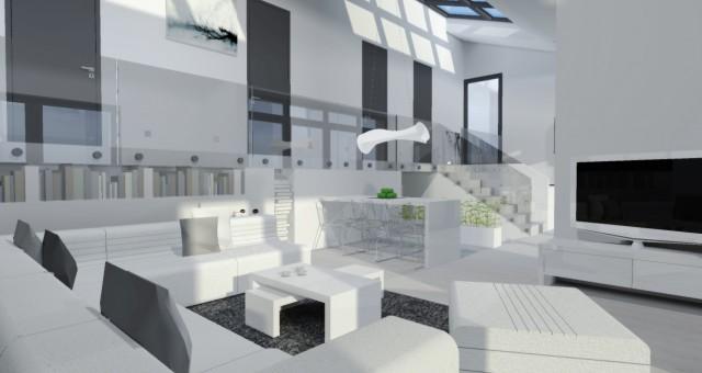 Návrh interiéru obývacího pokoje s kuchyní a jídelnou, Ostrava