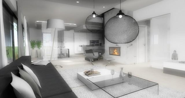 Návrh interiéru vstupní a obývací části s kuchyní a jídelnou, Ostrava