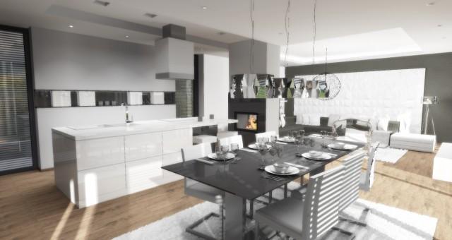 Návrh obývací místnosti s kuchyní a jídelnou, Jihlava