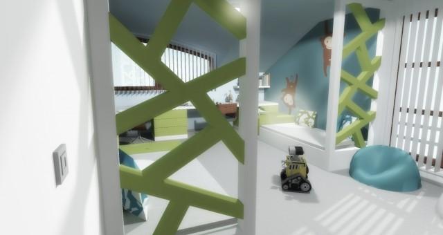 Návrh interiéru dětského pokoje pro dva chlapce, Praha