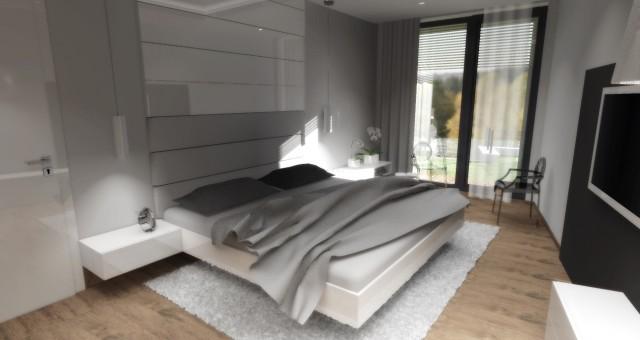 Návrh interiéru ložnice se šatnou, Praha