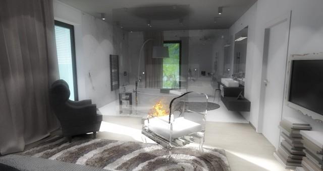 Návrh interiéru ložnice s koupelnou, Jihlava