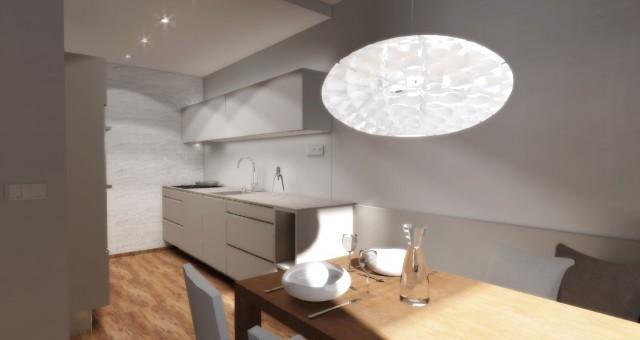 Návrh interiéru kuchyně s jídelním koutem, Jihlava