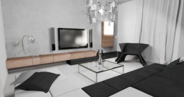 Návrh interiéru obývacího pokoje s jídelnou, Dačice