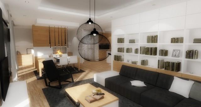 Návrh interiéru obývacího pokoje s jídelnou, Pardubice