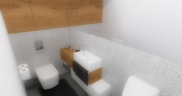 Návrh interiéru toalety pro hosty, Pardubice