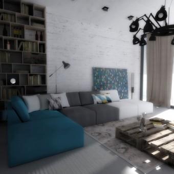Návrh interiéru obývacího pokoje s kuchyňským koutem, Polná