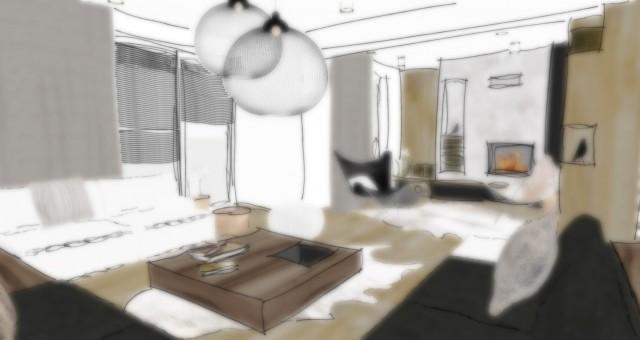 Studie obývacího pokoje s jídelnou