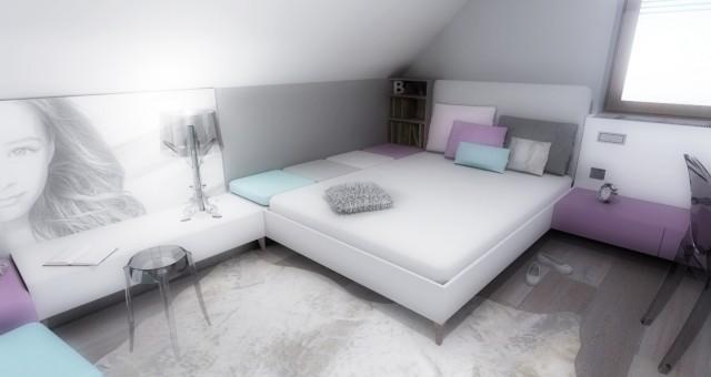 Návrh interiéru dětského pokoje pro dívku, Trutnov
