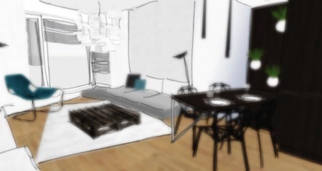 Studie obývacího pokoje s jídelním a kuchyňským koutem