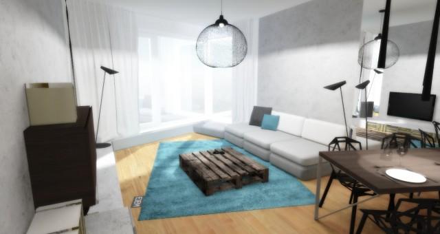 Návrh interiéru obývacího pokoje, Praha
