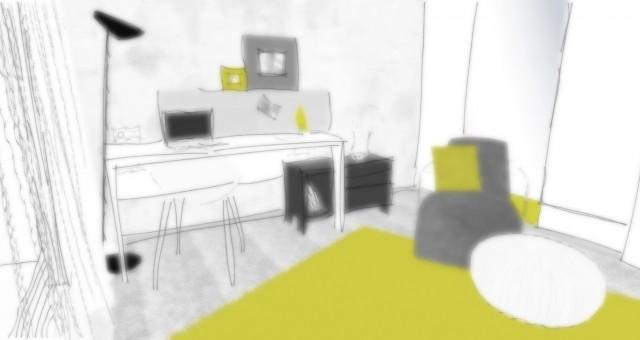 Studie pracovny s ložnicí