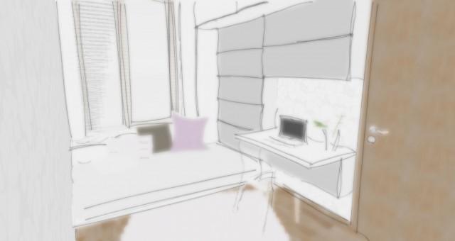 Studie interiéru pracovny/pokoje pro hosty