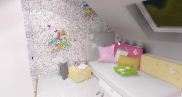 Návrh interiéru dětského pokoje pro holčičku, Brusel