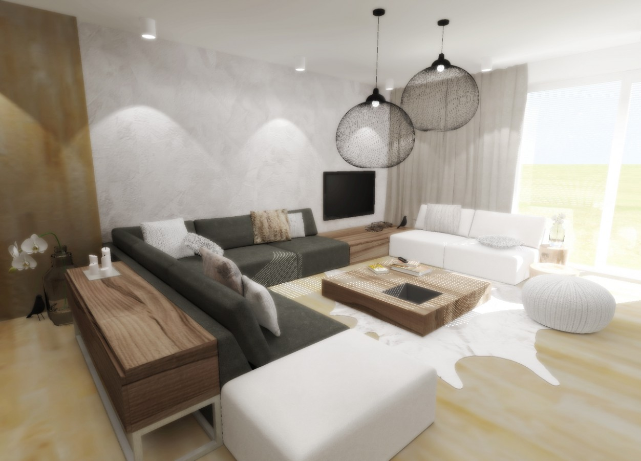 navrh interieru obyvaciho pokoje jidelny s krbem architekti navrhy interieru