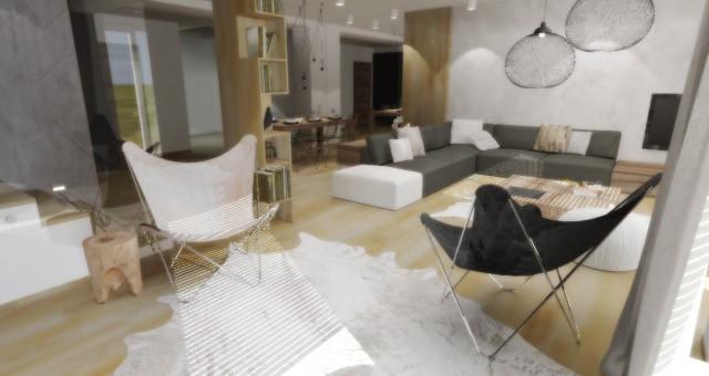Návrh interiéru obývacího pokoje s jídelnou, Ostrava
