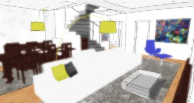 Studie interiéru obývacího pokoje s jídelnou