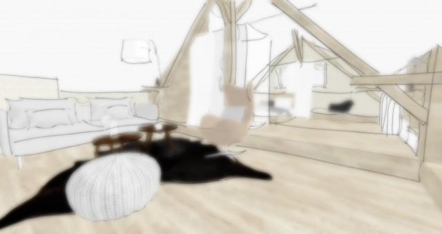 Studie interiéru podkroví
