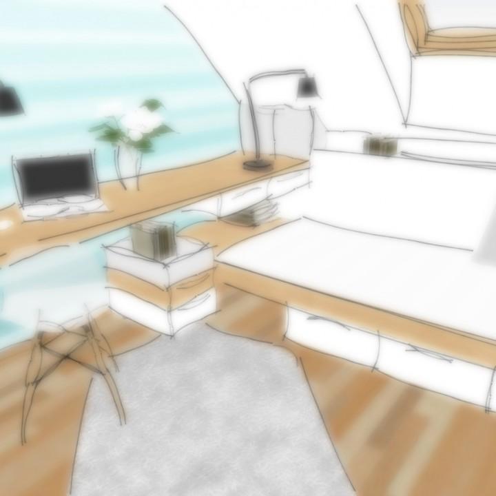 Studie interiéru pracovny