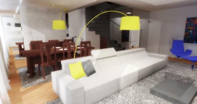 Návrh interiéru obývacího pokoje s jídelnou, Brusel