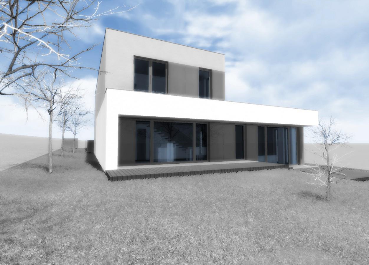 Návrh rodinného moderního domu, Brno. Vizualizace návrhu.