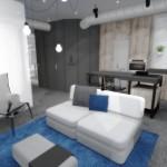 navrh interieru bytu obyvaci pokoj s kuchynskym koutem