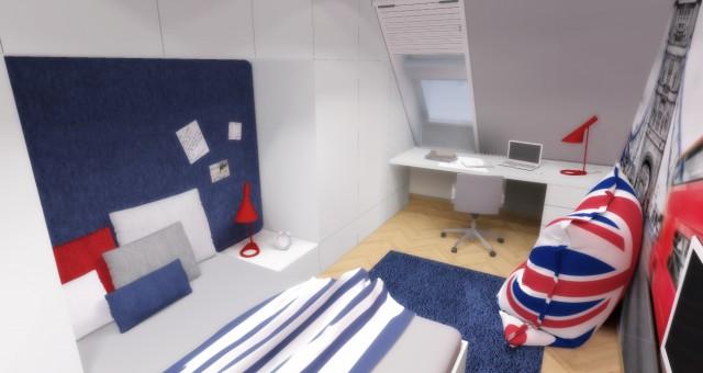Návrh interiéru chlapeckého pokoje, Brno