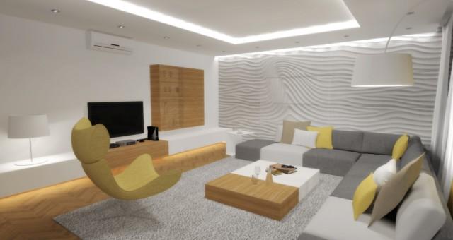 Návrh interiéru obývacího pokoje, Zlín