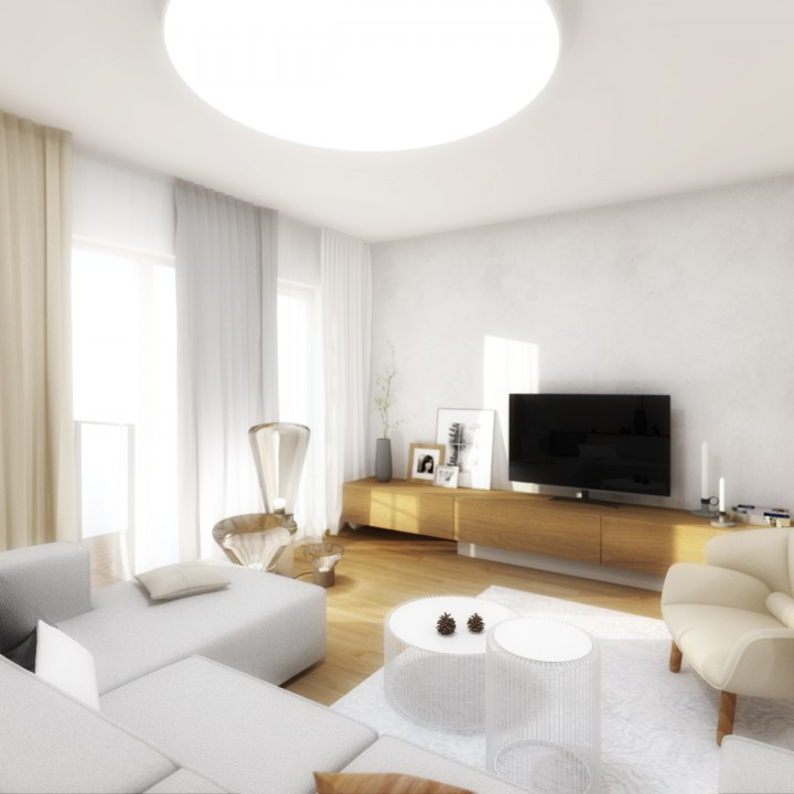 Návrh interiéru obývacího pokoje s kuchyní a jídelnou, zádveří, Brno