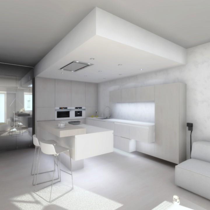 Návrh interiéru bytu v tlumených barvách, Ostrava