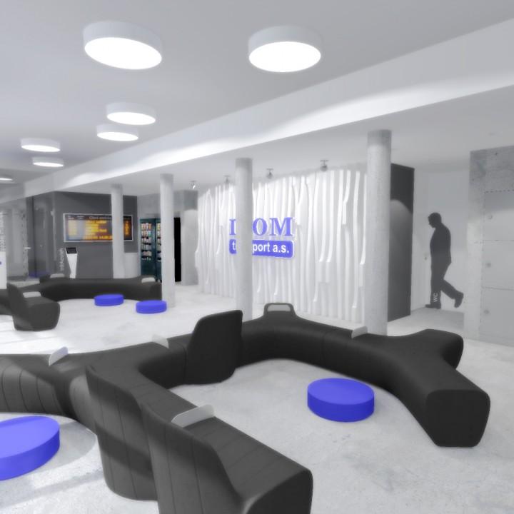 Návrh interiéru nádražní haly ICOM Transport, Humpolec