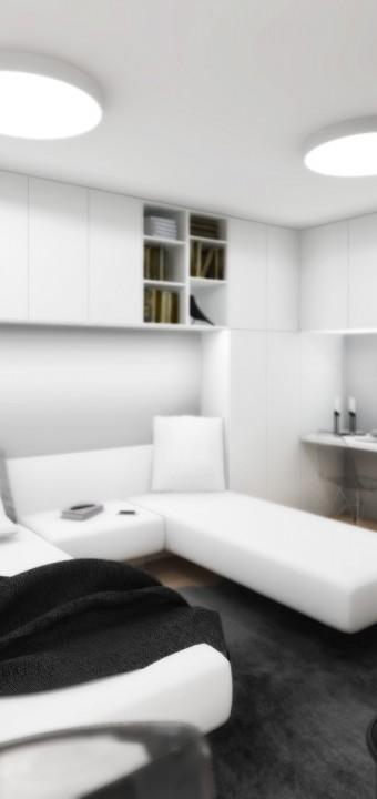 Studie interiéru bytu 1+kk, Brno