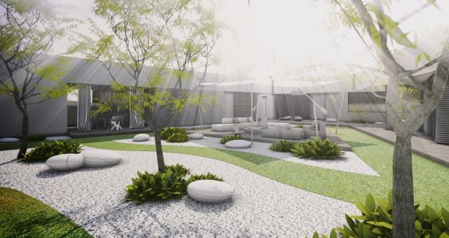 Návrh zahrady moderního domu, Brno