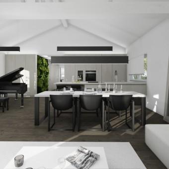 Návrh interiéru bytu s klavírem, Praha