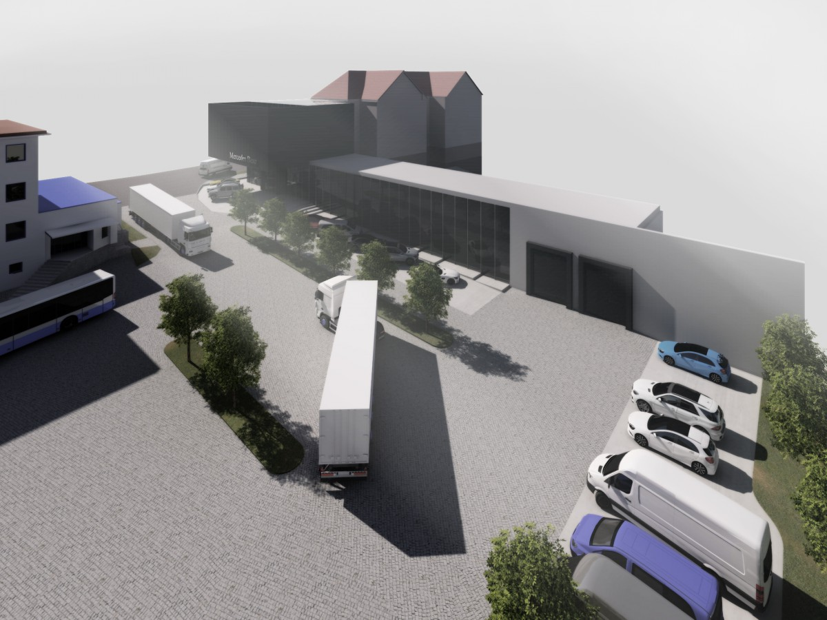 mercedes benz navrh navrhy studie koncept stavba stavby showroom auta aut automobil luxus luxusni obchod obchodu prodej prodejna servis autoservis