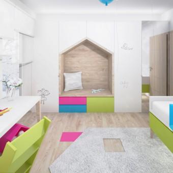 Návrh interiéru barevného dětského pokoje, Pelhřimov